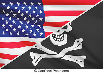 Series of ruffled flags. USA and Jolly Roger pirate flag.