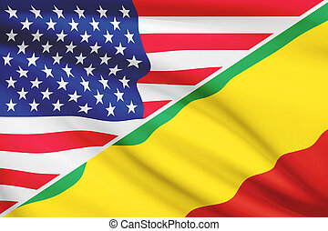 Series of ruffled flags. USA and Republic of the Congo. -...