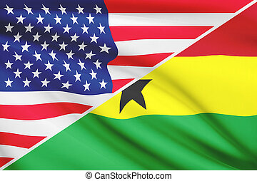 Flags of USA and Republic of Ghana blowing in the wind. Part of a series.