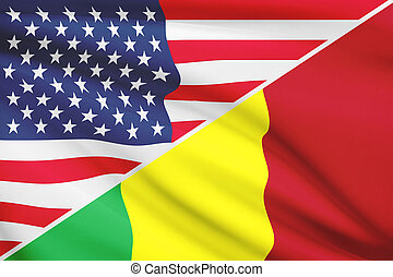 Series of ruffled flags. USA and Republic of Mali.