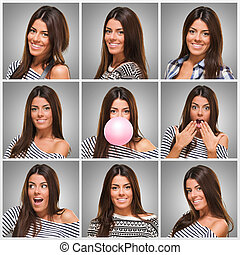 Series Of Young Expressive Woman