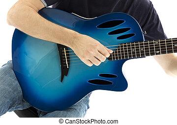 (series, primer plano, molde, guitarra, guitarrista, mismo, ...
