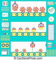 Colorful series production of sweets with machines, conveyor and gripper. Flat design.