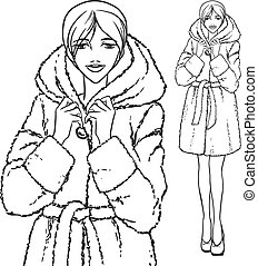Elegant beautiful woman wears winter clothes, fur coat. Vector monochrome hand drawing.