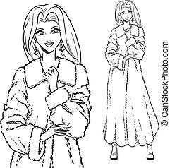 Series - Woman in fur coat. - Elegant beautiful woman wears...