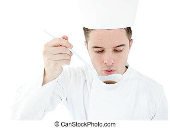 serieuze , cook, proeft, een, soep