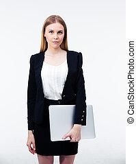 serieuze , draagbare computer, vasthouden, businesswoman