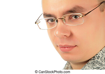 serieuze , jonge man, in, bril