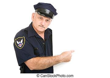 serieuze , wijzende, politieagent