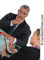 serieuze , zijn, zakenman, assistent