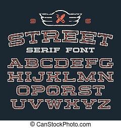 serif, chrzcielnica, uliczny styl