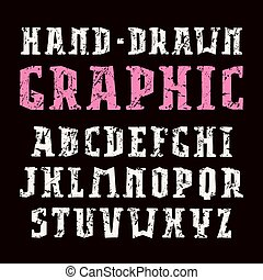 Serif font in the style of handmade graphics. Letters with ...