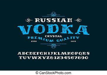 serif, fuente, vodka, etiqueta