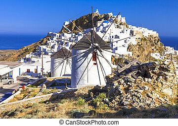 serifos, isla, greece., molinos de viento, cyclades