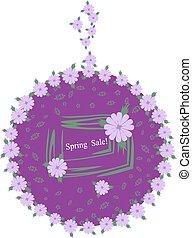 sering, lente, verkoop, label., modieus, bloemen