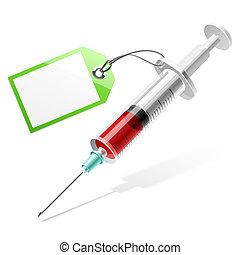 seringue, étiquette, vide