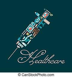seringue, forme, healthcare, icônes