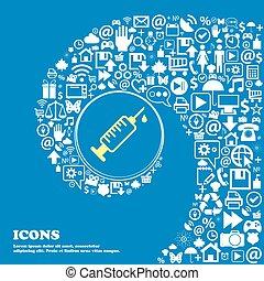 seringue, icône, ., gentil, ensemble, de, beau, icônes, tordu, spirale, dans, les, centre, de, une, grand, icon., vecteur