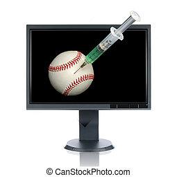 seringue, lcd, base-ball, moniteur