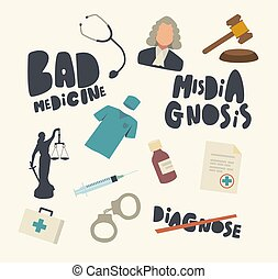 seringue, medic, erreur, robe, ensemble, menottes, monde médical, perruque, mauvais, médecine, marteau, juge, drugs., icônes, misdiagnosis