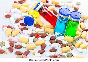 seringue, monde médical, coloré, ampoules