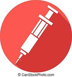 seringue, plat, vaccin, icône