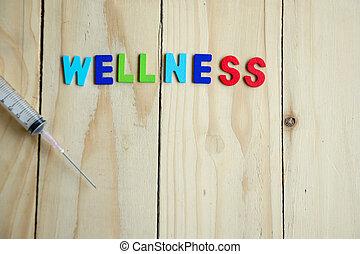 seringue, wellness, bois, table, texte