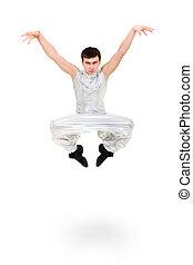 serio, ballerino, saltare, uomo