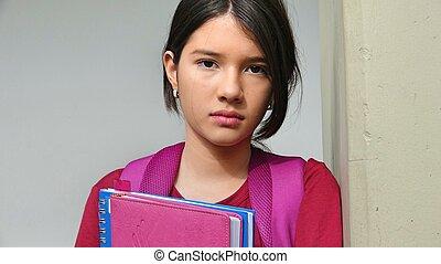 serio, bastante, estudiante femenino