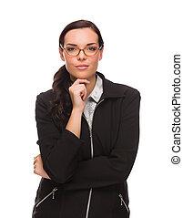 serio, corsa mescolata, donna d'affari, isolato, su, uno, sfondo bianco