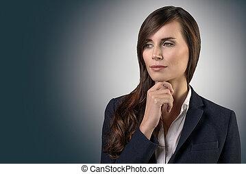 serio, pensativo, mujer de negocios