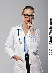 serio, ritratto, dottore femmina