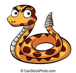 serio, serpiente de cascabel, cara