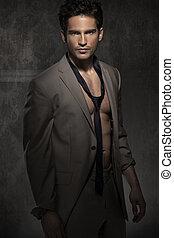serio, sin, camisa, elegante, hombre