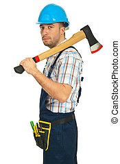 serio, trabajador, hombre con hacha