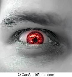 serio, triste, y, enojado, mirar, hombre, con, rojo, eye.,...