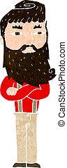 serio, uomo, cartone animato, barba