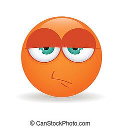 Serious - abstract serious orange emoticon on white ...