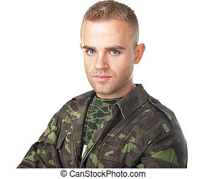 Serious army soldier