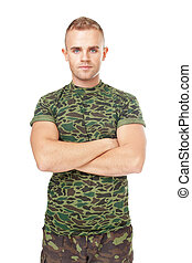 Serious army soldier with his arms crossed