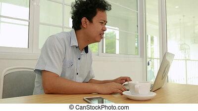 Serious asian business man , Negative human emotion facial...