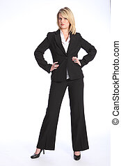 Serious beautiful blonde woman in business suit - Confident...
