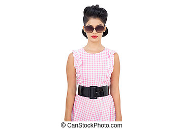 Serious black hair model wearing sunglasses
