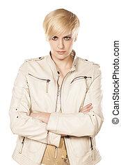 serious blonde girl