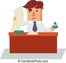 Serious Business Man Cartoon Character Vector Illustration
