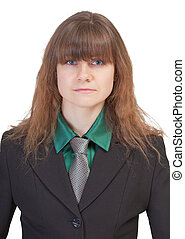 Serious business woman on a white background - portrait
