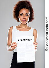 serious business woman showing resignation