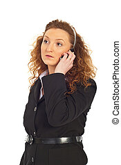 Serious business woman with phone mobile