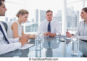 Serious businessman during a meeting