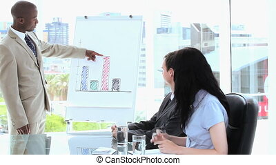 Serious businessman making a presentation